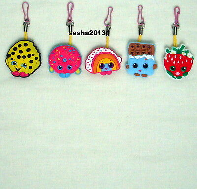 5 Shopkins Themed Zipper Pull Charms,brand New