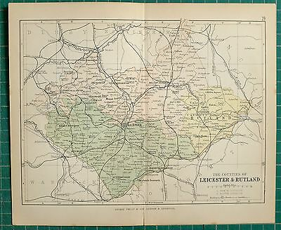 1882 Small Antique County Map ~ Leicester & Rutland Market Bosworth Oakham