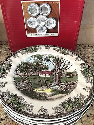 Johnson Brothers Friendly Village 6 BUFFET PLATES 10 1/2 in  All Different  NEW