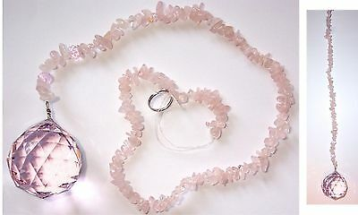 40mm PINK CRYSTAL SPHERE with Rose Quartz Tail FENGSHUI