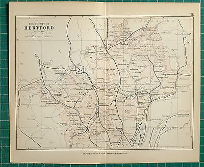 1882 Small Antique County Map ~ Hertford St Albans Hitchin Royston Watford