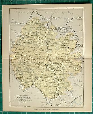 1882 Small Antique County Map Hereford Bromyard Leominster Kinston Ross Ledbury