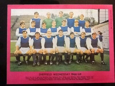 1968/69 A4 Football TEAM picture/poster Sheffield Wednesday,