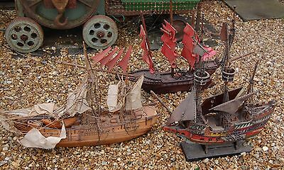 3 x Vintage Handmade Wooden Model Ships 30-36inches for restoration
