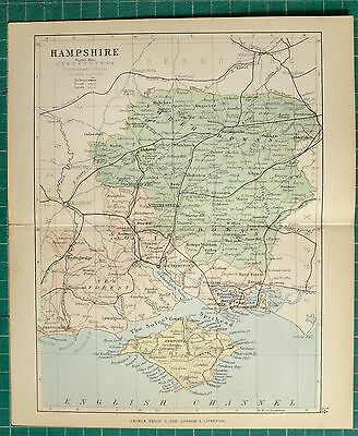 1882 Small Antique County Map ~ Hampshire Isle Of Wight Downs Whitchurch