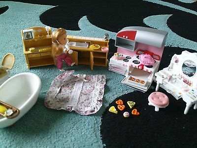 "LARGE bundle lot MINI PLAYSET with 3.5"" DOLL, LOTS of FURNITURE and ACCESSORIES"