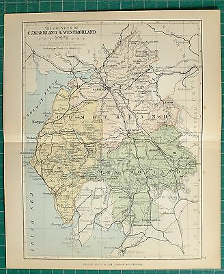 1882 Small Antique County Map ~ Cumberland & Westmorland Penrith Carlisle