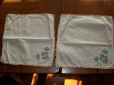 Antique Pair of Ivory Linen Colorful Embroidered Flowers Crocheted Edges Doily