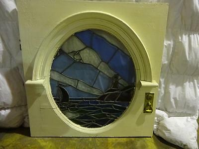 Antique Art Deco Leaded Stained Glass Round Porthole Window In Top Part Of Door