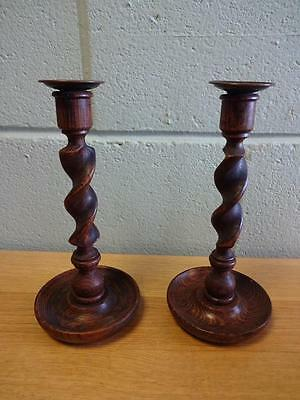 "Pair of Antique Barley Twist Wooden Candle Stick Holders 10.5"" Tall"