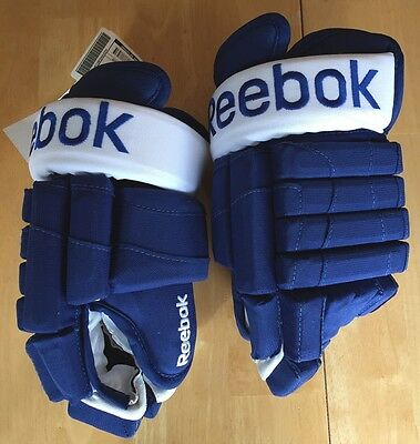 """Reebok Ccm Pro Stock Maple Leafs Hockey Gloves Made In Canada 14"""" New With Tags!"""