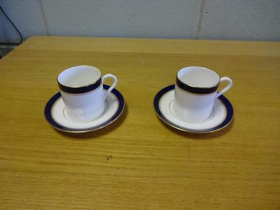Two Royal Worcester Howard Blue Coffee Cups & Saucers