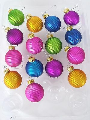 "Bright Colorful 1"" Glass Christmas Holiday Ornaments Lot Of 15 Swirled Balls"