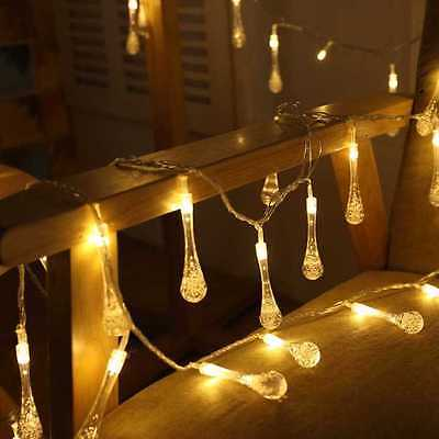 Solar powered LED Fairy Lights 8 Mode 30 water drop 6.5M warm white