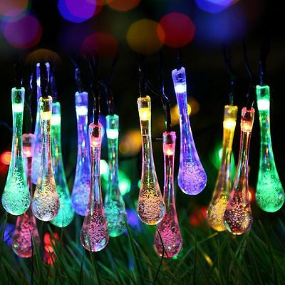 Solar powered LED Fairy Lights 8 Mode 30 water drop 6.5M multi color