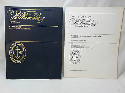 Vintage 1980's Colonial Williamsburg Retoration Catalog and Price List
