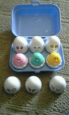 Vintage Tomy Egg Sorter Toy with Squeakers & Container Blue