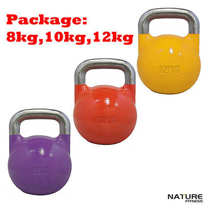 Nature Fitness 8 10 12kg Pack Competition Pro Grade Kettlebell Fitness Crossfit