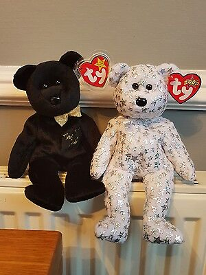 Vintage Ty Beanie Baby Set, The End, The Beginning 1999/2000 Rare