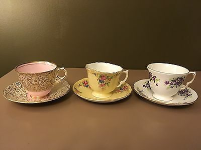 Lot Of 6 Vintage Teacups And Saucers - Aynsley, Royal Stafford, And Queen Anne