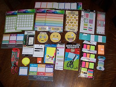 LOT New Weekly Daily Planner Sticker Sticky Notes Memo Pad Check List Scissors