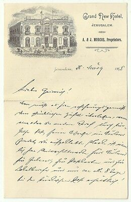 Judaica Palestine RARE Old Decorated Letter Grand New Hotel Jerusalem 1893