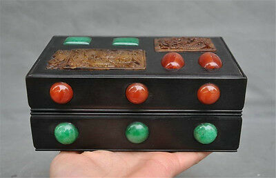 Chinese Rosewood Inlay Old jade Dragon Fish Statue Ancient Jewelry storage boxes