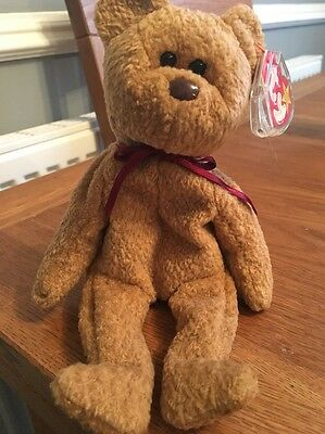 Ty Curly Beanie Baby Bear Mint **rare With Errors**  Tush Redstamp 105*