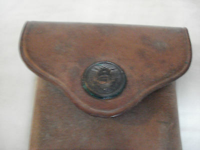 Rare,ww-1 Era, 1915, Leather, Brass  Eagle Snap Pouch  R.i.a.    #p-15