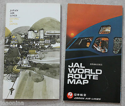 1969/70 Japan Air Lines World Route Map + Jal Living In Japan Book - Mint !!!