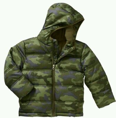 Healttex Baby/Toddler Boys Full Zip Hooded Green Camo Bubble Jackets: 18m-5T