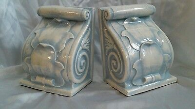 Vintage Ceramic Blue White Victorian Scroll Book Ends Beautiful Very Heavy