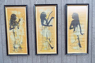Set of 3 MID CENTURY MODERN signed limited edition Egyptian Style Prints vintage