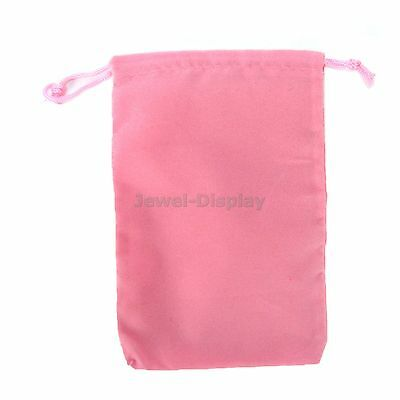 50 Pink Drawstring Velvet Square Wedding Pouches Favour Jewelry Bag 4 x 6 inch