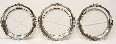 3 Antique Sterling Silver & Glass Webster Coasters