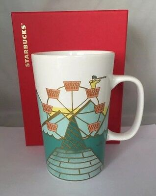 Starbucks Ferris Wheel Ceramic Cup 16 Oz. 2015. NWT! Box