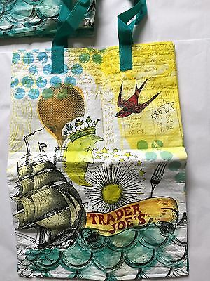THREE Pre Owned Trader Joe's Reusable Shopping Bag 6 Gallon Eco Tote Grocery