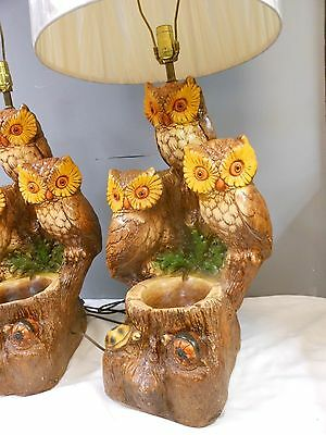 Pair Huge Retro Table Lamps Owl Trio Ashtray Bowl and Shades