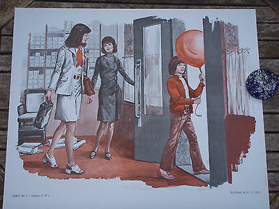 ORIGINAL RETRO VINTAGE 1970s FRENCH POSTER PRINT,MOTHER & SON SHOE SHOPPING