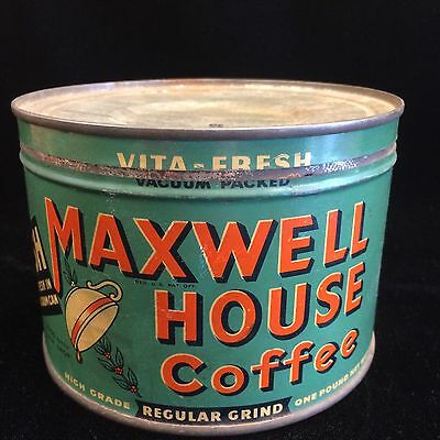 "Vintage Maxwell House Coffee Tin 1 Lb. Can Vita-Fresh ""Good to the Last Drop"""
