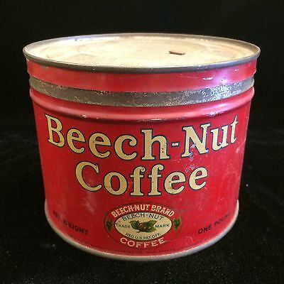 Vintage Beech-Nut 1 Lb. Coffee Can Tin Tan Lettering