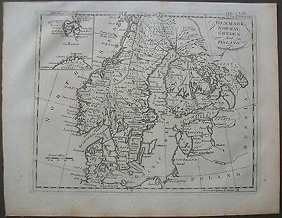 1810 Map Denmark Norway Sweden & Finland London Meridian Antique Map