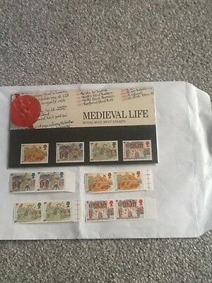 Royal Mail Mint Stamps_Medieval Life-1986 +Extra Mint Stamps_