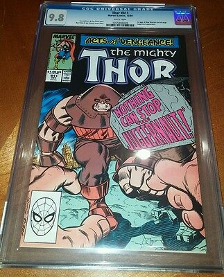Thor #411 CGC 9.8 white pages first cameo appearance New Warriors