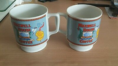 Maxwell House Vintage Pedestal 6 oz Coffee Cups Set of 2