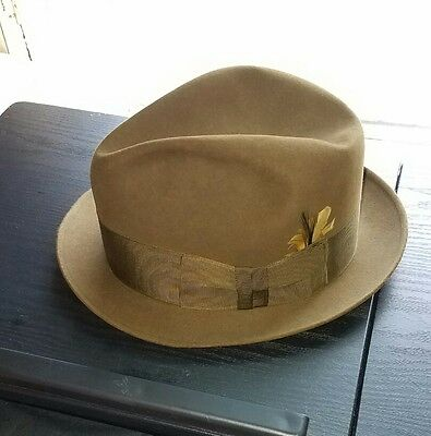 Vintage Dobbs Fifth Avenue Olive Fedora Hat 7 1/8 Yellow Feather