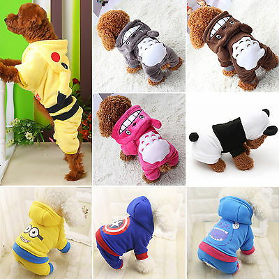 Pet Small Dog Cat Puppy Clothes Pikachu Hoodie Coat Winter Warm Apparel Costume