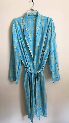 Vintage Lightweight SUMMER COTTON ROBE Blue/Yellow PLAID Pockets 1 SIZE S M L XL