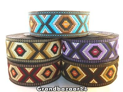1m EMBROIDERED RIBBON TRIM*AZTEC*TRIBAL*ETHNIC*33mm