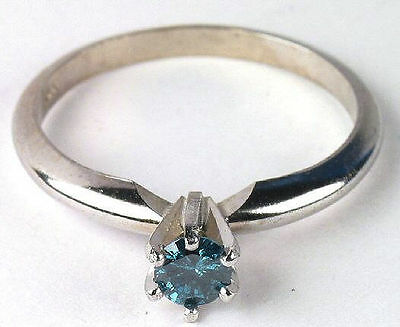 Striking Blue Certified Diamond Solitaire Ring in 14K White Gold